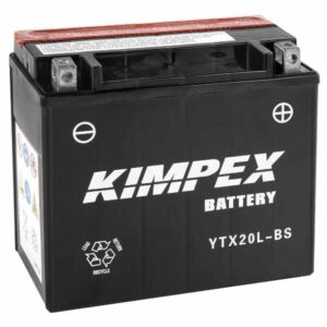 kimpex ytx20l-bs atv & utv maintenance free battery